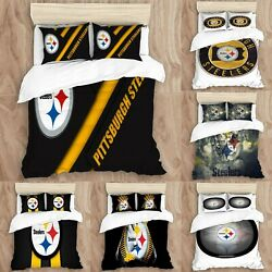 Pittsburgh Steelers 3pcs Duvet Cover Pillowcase All Size Bedding Comforter Cover