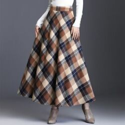 Winter Plus Size Plaid Tall Waist Office Ladies Skirt Ankle-length Clothing