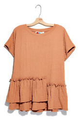 NEW FREE PEOPLE Beach Women#x27;s Marni Tunic Shirt Lovely Leo Ruffle Hem Large NWT $24.99
