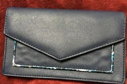 Womens Envelope Wallet Fold Over Clutch Blue Faux Leather Taylor Brooke NY $4.00