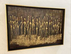 Pearl Gast 1966 Signed Oil Liquitex On Board - Mcm -tribute To Giacometti -lr