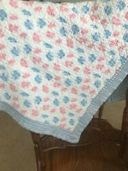 Vintage Handmade And Quilted By Hand Baby Blanket Satin Trim - Pink, Blue, White