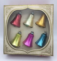 Box Of 6 Vintage Shiny Brite Mercury Glass Bell Ornaments Multicolor Usa Made