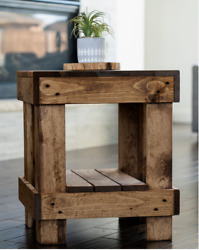 Rustic Farmhouse End Table Side Sofa Nightstand Solid Wood Walnut Distressed New
