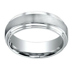 18k White Gold 8.00 Mm Comfort-fit Menand039s Engagement And Wedding Band Ring Sz-9