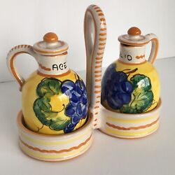 Oil And Vinegar Set Italy Cruet Caddy Hand Painted Lids Grapes Yellow Mint Cond