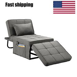 Convertible Sofa Bed 4 In1 Multi-function Folding Ottoman Breathable Linen Couch