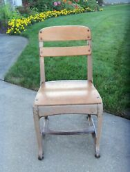 Cute As-is Metal Wood Child's 15 American Seating Co Envoy Chair-grand Rapids