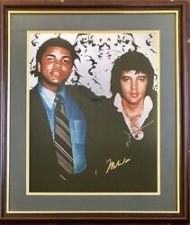 Muhammad Ali Signed Photo With Elvis Large Framed + Authenticity Certification