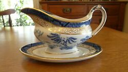 Booths Real Old Willow Gravy Boat And Attached Plate 9072 Pattern Beautiful