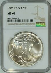 1989 American Eagle .999 Pure Silver Dollar / Ngc Ms69 / Mint State 69