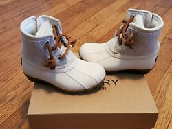 Sperry Topsider Saltwater Duck Boots Off White Toddler Girls Sz 7m New Stl163619