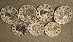 Brown CALENDAR PLATES Staffordshire England quot;God Bless Our Housequot;
