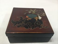 Vintage Antique Japanese Lacquer Box Hand Painted Boy On Buffalo 3 1/2andrdquox3 1/2andrdquo