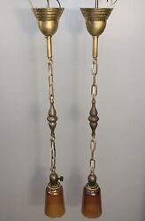 35andrdquo Long Pair Antique Brass Pendant Light Fixtures With Carnival Art Shades 110b