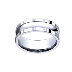 18k White Gold 8mm Comfort-fit Polished Squared Edge Carved Men's Band Ring Sz-9