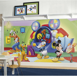 Roommates Jl1317m Mickey And Friends-clubhouse Capers Chair Rail Prepasted Mural X
