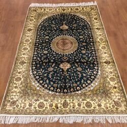 Yilong 4and039x6and039 Handmade Silk Carpet Home Decor Antistatic Green Area Rug Wy376c