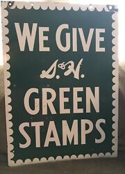 Vintage 1952 S And H Green Stamps Double Sided Heavy Porcelain Sign 20 X 28