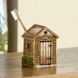 Outhouse Toothbrush Holder - Decorative Farmhouse Country Bathroom Accessory