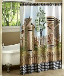 His And Hers Outhouse Theme Bathroom Shower Curtain With 12-ring Grommet