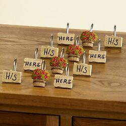 His And Hers Outhouse Themed Bathroom Shower Curtain Hooks - Set Of 12