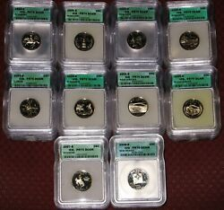 Complete Collection Of All 50 Proof State Quarters Graded Icg Pr 70 Dcam Perfect