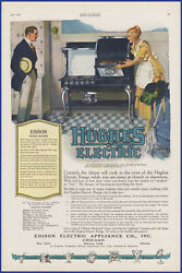 Vintage 1920 Hughes Electric Range Stove Oven Hotpoint Edison Appliance Print Ad