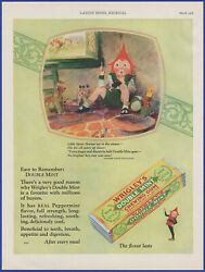 Vintage 1928 Wrigley's Double Mint Chewing Gum Mother Goose Art 20's Print Ad