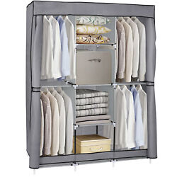 Closet Wardrobe Clothes Rack Storage Organizer With Shelf Fabric Portable
