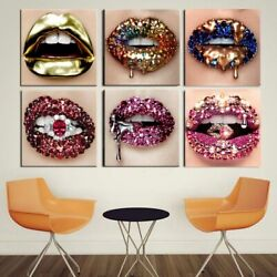 Modern Gold Lips Sexy Diamonds Women Painting Canvas Art Posters And Prints Wall