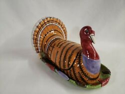 Department 56 Thanksgiving Turkey Hand Painted Butter Dish Dept - 1 Tiny Chip