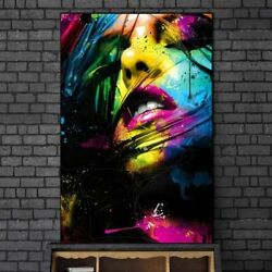 Sexy Lips Graffiti Art Canvas Paintings Wall Colorful Girl Face Posters Prints