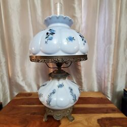 Vtg Large Sky Blue Gone With The Wind Lamp Brass Base Gwtw