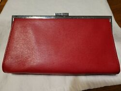 Lauren by Ralph Lauren leather small clutch color Red $10.50