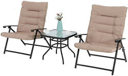 3pcs Folding Patio Table Chairs Set With Padded Outdoor Adjustable Reclining