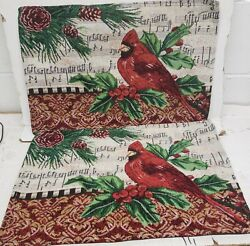 Set Of 2 Tapestry Placemats13 X 19 Christmas Cardinal Bird And Musical Notes