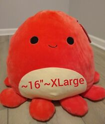 New Xl 16 Squishmallow Veronica Red Octopus Soft Plush Pillow Gift Sealife