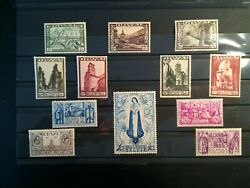 Belgium Stamps 1933 Cathedral Ii 12 Stamps Michel 354-65 Mh 2200 Euro Rare