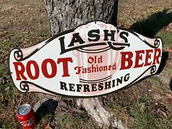 Lashs Root Beer Porcelain Advertising Sign, 28x 14, Near Mint Condition
