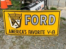Ford V-8 X-large, Heavy Porcelain Sign 46x 22 Near Mint Condition, Nice