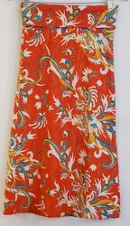 Jude Connally Maxi Skirt Small Strapless Dress Convertible Orange Dragon Print