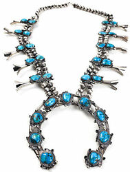 Turquoise Nugget Vintage Squash Blossom Necklace Navajo Silver Native American