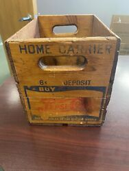 Pepsi Cola Small Personal Home Carrier 1940andrsquos Double Dot Wood Crate Andldquoscarceandrdquo