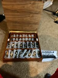 Ducks Unlimited Hand Carved Chess Set.collectors Edition.rare Beautiful
