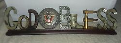 Us Army God Bless Desk Top Plaque Military Gift New In Box