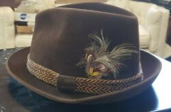 Menand039s Churchill Ltd. Hat With Braided Band And Feather - Capper Capper Hat Box