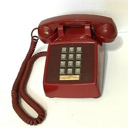 Vtg Western Electric Presidential Red Push Button Mcm Desk Phone☎️bell Telephone