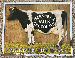 Patina Rust Hersheyand039s Milk Chocolate Made On The Farm Holstein Cow Metal Sign