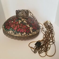 Vtg Mcm Poinsettia Crackle Glass Floral Shade Brass Ceiling Hanging Light